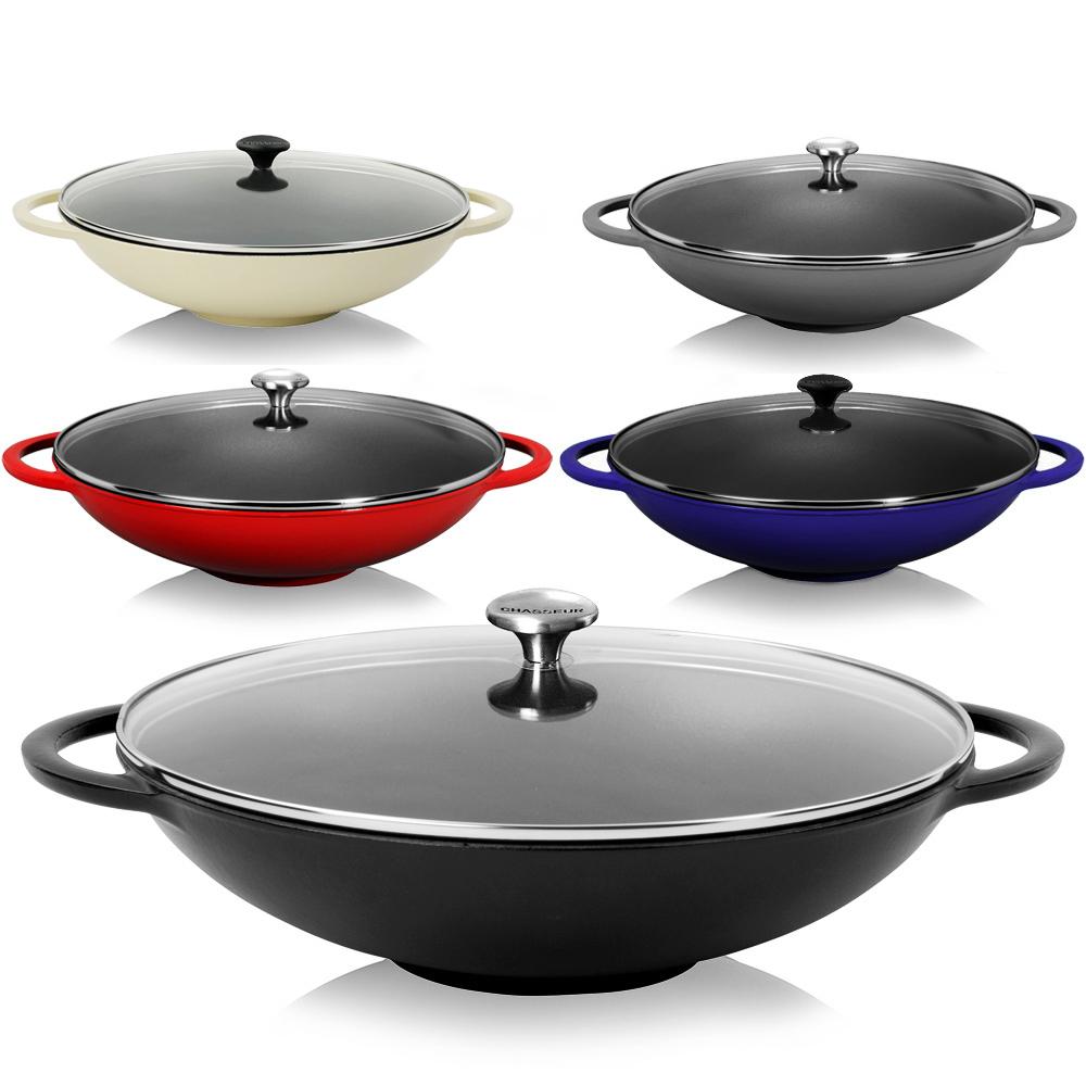 Μαντεμένιο wok Chasseur με γυάλινο καπάκι + αξεσουάρ