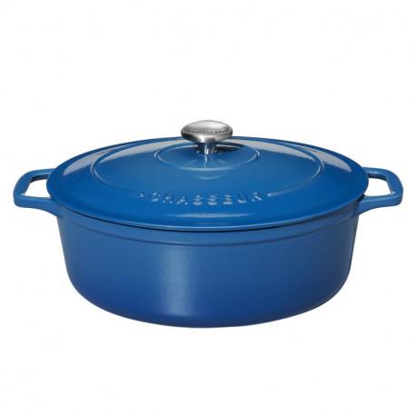 Μαντεμένια γάστρα κατσαρόλα οβάλ μπλε Chasseur επισμαλτωμένη αντικολλητική