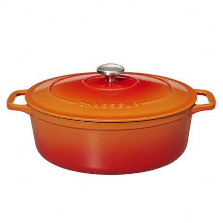 Μαντεμένια γάστρα κατσαρόλα οβάλ πορτοκαλί Chasseur επισμαλτωμένη αντικολλητική