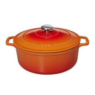 Μαντεμένια κατσαρόλα πορτοκαλί Chasseur, επισμαλτωμένη, αντικολλητική,