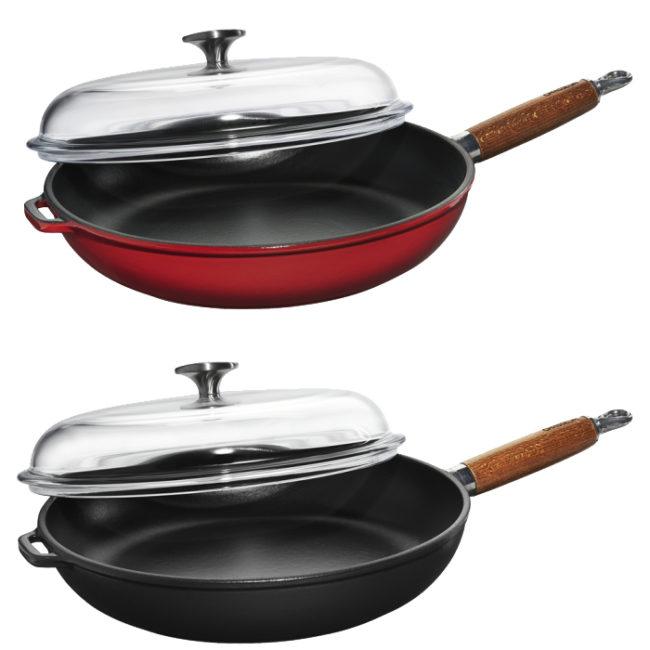Αντικολλητικό μαντεμένιο τηγάνι με ξύλινη λαβή & γυάλινο καπάκι 28cm Chasseur | COOKART.GR