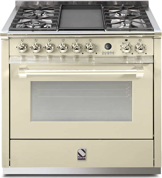 Κουζίνα αερίου-ηλεκτρική | Φούρνος ατμού ASCOT 90 STEEL CUCINE